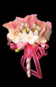 Pink and Pearl Wedding Corsage