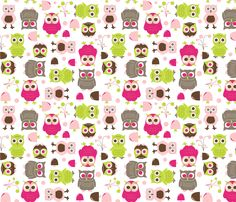 Owls, in Pink fabric by aimeemarie on Spoonflower - custom fabric