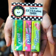"""""""Extraordinary Teacher"""" Mini Treat Bag Label  Teacher thank you gift with a topper and some packs of gum."""