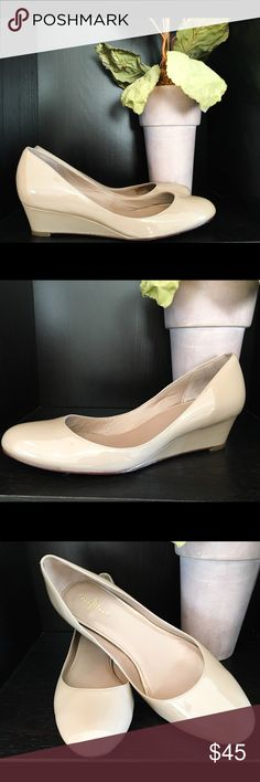 """Classy Nude Cole Haan Wedge Very elegant, comfortable Wedge by Cole Haan Nike Air. In great condition. Only a few scuff marks on the right shoe, but they are on the inner side which makes it much less noticeable. About 1"""" Wedge. Enjoy! Cole Haan Shoes Wedges"""