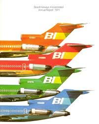 Braniff - I once flew in their new 747, non-stop from DFW to Frankfurt.  There were 6 passengers,  which included my 5 week old son.   We moved up to 1st class,  and I had a stewardess,  always willing to hold him.  I think the crew number was 14.  It was a treat!