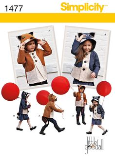 1477 get creative with these felt animal jackets. hood can be made as a fox or   raccoon both with eyes, ears and nose. jackets have three front buttons, side pockets, removable tail and claws at end of the   sleeves.