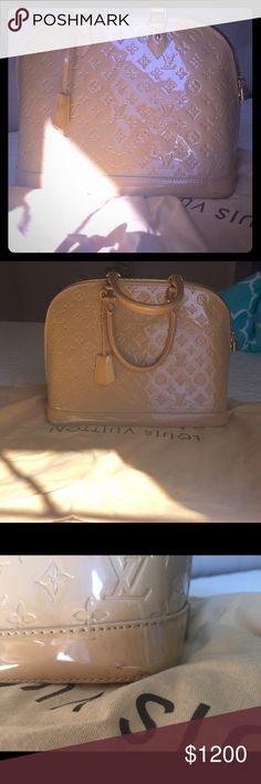 Authentic Louis Vuitton Vernis rose florentine💕 Selling my authentic Louis Vernis alma rose florentine mm. It's flawless. I am moving and I don't carry this anymore. I just need some cash.code is vr1032. I don't have paper anymore but poshmark authenticates it price above500. No lowball. The price is low as already is. Probably lowest you can find anywhere.  Might consider trade if it is a great trade. Finder is keeper 😍👙🌸🍒 Louis Vuitton Bags