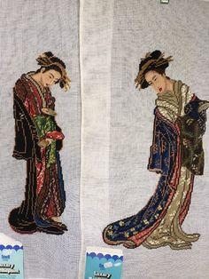 Set of 2 Vintage Needlepoint Canvases Japanese Women Kimono Preworked Scovill #ScovillDritz