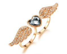 European Style Personalized Angel Wings With Heart Shape Crystal Double Ring Women's Fashion Ring - USD $58.95