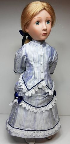 Late Victorian, blue stripe silk fabric bustle dress to fit a girl for all time dolls. Please note this will not fit the 18inch american girl doll If you would like measurements to see if it will fit your doll please contact me. This is a version of the bustle dress which has been made to Bustle Skirt, Blue Satin, Cotton Lace, Fitted Bodice, Ribbon Bows, Silk Fabric, Blue Stripes, American Girl, Victorian