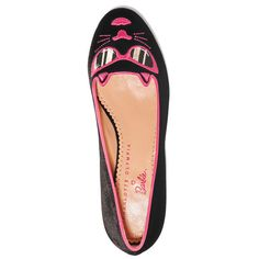 CHARLOTTE OLYMPIA X Barbie 'Pretty In Pink Kitty' Embroidered Velvet... ($225) ❤ liked on Polyvore featuring shoes, flats, round toe flat shoes, round cap, cat flats, embroidered flats and velvet shoes