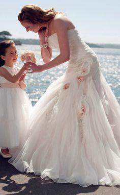 Organza bretelles Mermaid trompette manches robe de mariée