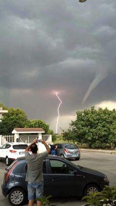 Tornado and lightning, USA.