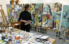 barbra edwards in her studio on Pender Island, Canada