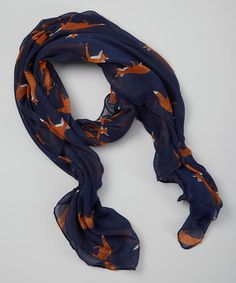 Another great find on #zulily! Navy Blue Foxes Scarf by Owl Bee Mod #zulilyfinds