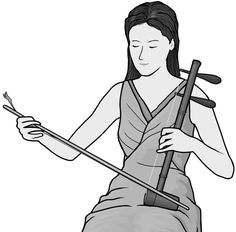 Grayscale images / jinghu player /  Chinese musical instruments