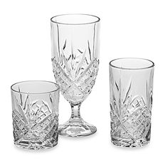 Godinger Dublin Crystal Beverage Collections, $19.99/Set of 4.  Choose which glass...8 oz Dbl Old Fashioneds, 10 oz Highballs, or 14 oz Ice Tea Goblets. At BedBathandBeyond.com, 9/3/15
