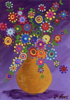ACEO, Original Painting, Vase of Folk Art Flowers by banjogal - Art Painting Art Floral, Folk Art Flowers, Painting Flowers, Drawing Flowers, Arte Popular, Whimsical Art, Elementary Art, Flower Crafts, Artist Painting