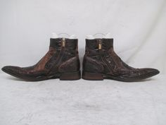 Jo Ghost Italian Distressed Leather Embossed Gator Zip Ankle Boots Size 43 Eur Boots Embossed Leather Ankle Boots