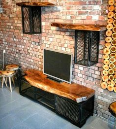 Discover recipes, home ideas, style inspiration and other ideas to try. Garage Furniture, Metal Furniture, Industrial Furniture, Rustic Furniture, Tv Wall Design, Tv Unit Design, House Design, Tv Decor, Room Decor
