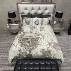 Dream Catcher Floral Buck Skull Duvet Bedding Sets i need this! Duvet Bedding Sets, Pink Bedding, Luxury Bedding Sets, Dorm Bedding, Comforters, Cool Beds, Bed Styling, My New Room, Dream Bedroom