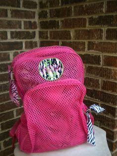 2cf0a1b37 Hot Pink Mesh Backpack with Zebra Print Patch by monogrammadness12, $35.00