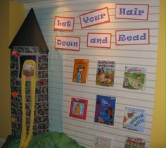 reading area, make fairytale themed, can even make castle for kids to sit in and read