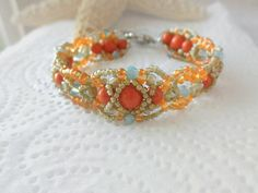 Beach color  bracelet,Coral pearl bangle,Handmade super duo beadwoven bracelet