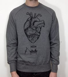 anatomical heart / hot air balloon sweatshirt for men