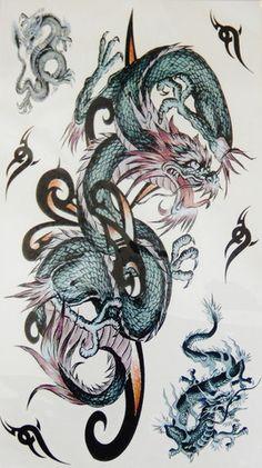 Large Colorful Dragon Arm Leg Back Temporary Tattoo - Jewelry Jills - 1