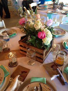 Flowers in crates & jars..