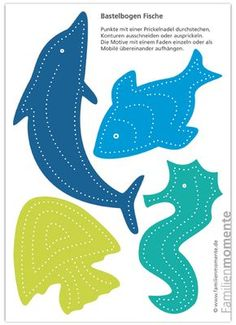 Crafting sheet per Deko-Mobile Fish for tingling The post Crafting sheet for deco . - Crafting sheet per Deko-Mobile fish for tingling The post Crafting sheet for Deko-Mobile fish for t - Diy Crafts To Do, Paper Crafts, Diy For Kids, Crafts For Kids, Quiet Book Templates, Pin Art, Book Activities, Baby Shower Parties, Craft Gifts