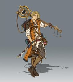 RPG bard i love that vest Fantasy Character Design, Character Creation, Character Design Inspiration, Character Concept, Character Art, Concept Art, Dungeons And Dragons Characters, Dnd Characters, Fantasy Characters