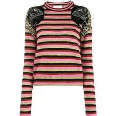 Gucci Parrot striped jumper (€2.110) ❤ liked on Polyvore featuring tops, sweaters, multi color sweater, jumpers sweaters, multi colored sweater, stripe sweaters and multi color tops