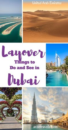 Having a layover in Dubai? Here are some ideas how to spend a stopover in Dubai - itineraries for 6, 8, and 10 hours in Dubai + an alternative itinerary for an extra long layover. United Arab Emirates (UAE) for first time visitors. Burj Khalifa, Burj Al-Arab, desert, the Palm, Miracle Garden.