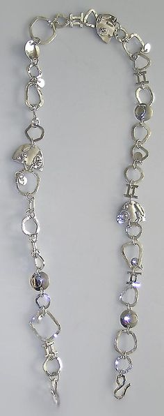 Sterling silver hand forged chain link necklace.