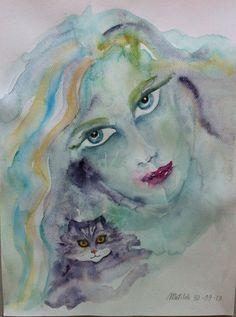 Donna con gatto