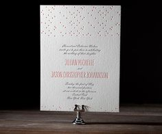 Designer Sarah Walroth has infused this pretty letterpress design with a delicate and romantic character that is always cheerful in spite of even the foulest weather.
