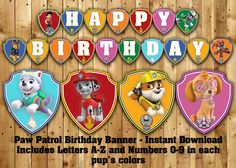 Paw Patrol Inspired Birthday Banner - Instant Download Paw Patrol Themed Banner
