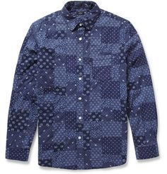 Indigo patchwork shirt by J.Crew