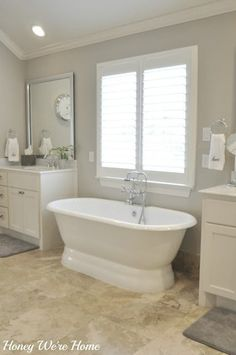 Master bathroom in Anew Gray from Honey We're Home Blog
