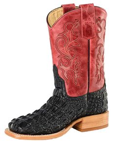 Anderson Bean Children's Red and Black Croc Print Broad Square Toe Boots Anderson Bean, Square Toe Boots, Kids Boots, Western Wear, Brand You, Crocs, Cowboy Boots, Red, How To Wear