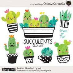 Cute Succulent and Cactus EPS PNG succulent cactus cacti summer plant desert pot green cute face happy smile character cup spike sharp thorn funny botany group vector illustration eps png clipart clip art set collection graphic tropical garden isolated Cactus Clipart, Cactus Vector, Homemade Business, Summer Plants, Classroom Themes, Printable Invitations, Doodles, Cute, Crafts