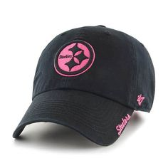 best service 09005 9575b Pittsburgh Steelers Women s Skyler Clean Up Pink Black 47 Brand Hat