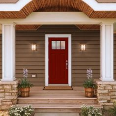 JELD-WEN 32 in. x 80 in. 3 Lite Craftsman Mesa Red Painted Steel Prehung Right-Hand Outswing Front Door w/Brickmould-THDJW182400018 - The Home Depot Front Door Paint Colors, Exterior Paint Colors For House, Painted Front Doors, Red Front Doors, Garage Door Colors, Craftsman Front Doors, Exterior Front Doors, Farmhouse Front Doors, Colonial Front Door