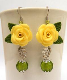 Lemon Green earrings Roses earrings Flower by insoujewelry
