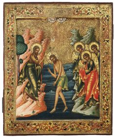 "Baptism of Christ icon, Russian, c. 1890, egg tempera and enamel on wood, 12¼"" x 10½""; Museum of Russian Icons, Clinton, MA"