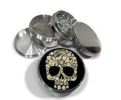 "Floral Flower Skull Dead 4 Piece Silver Alumium or Zinc Metal Grinder 2.5"" Wide Evil Bones Mod by Swagstr on Etsy"