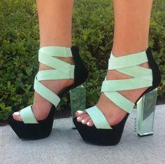 Clearly Velvet Lucite Heels