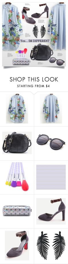 """Different"" by mahafromkailash ❤ liked on Polyvore featuring shirtdress, striped, geometric, roundbag and shein"