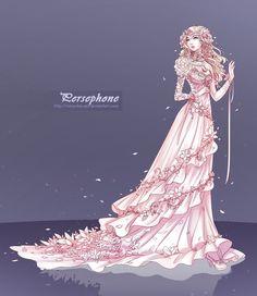 Persephone by ZenithOmocha on deviantART Character Inspiration, Character Art, Anime Dress, Fashion Design Drawings, Persephone, Anime Outfits, Anime Art Girl, Fantasy Art, Concept Art