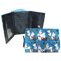 Moomin wallet with a coin-pocket with a zipper. Closed with a snap fastener, includes 6 card-pockets, 1 open pocket, 1 transparent pocket and one pocket for bills.