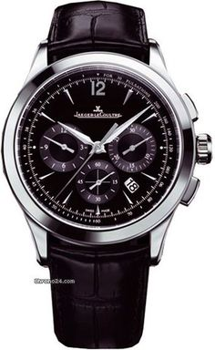 Jaeger-LeCoultre Master Chronograph $8,300 #JaegerLeCoultre #watch #watches #chronograph Leather - Black Crocodile