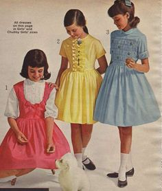 Girls' Broadcloth Dresses from a 1964 catalog.